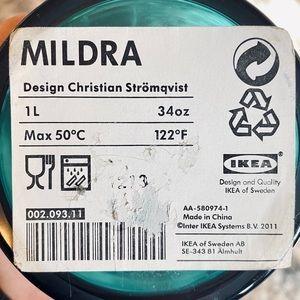 NWT IKEA Mildra 1 Liter Blue Glass Vase
